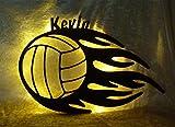 Schlummerlicht24 Nachtlicht 'Volleyball' mit Name nach Wunsch, ideales Geschenk für Ballsport-Fans, als Deko-Lampe zum Zimmer verschönern, handgemacht