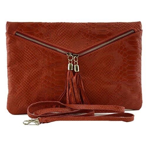 Dream Leather Bags Made in Italy Cuir Véritable Pochette En Cuir Véritable Façon Python Couleur Rouge - Maroquinerie Fait En Italie - Sac Femme