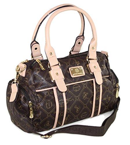 # 433 Giulia Pieralli Damen Glamour Handtasche Damentasche Tasche Henkeltasche Kunstleder Schwarz Braun Beige Weiss (Schwarz) Beige