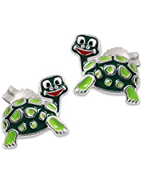 CLEVER SCHMUCK Silberne Ohrstecker Schildkröte 10 x 8 mm mit lustigen Gesicht, bunt lackiert und glänzend STERLING SILBER 925