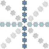 Zhehao 32 Pezzi 4 Pollici Natale Glitter Attaccapanni a Fiocco di Neve in Plastica Ornamenti Fiocco di Neve e Corde d'Argento per la Decorazione di Natale, Bianco/Blu/Argento/Turchese