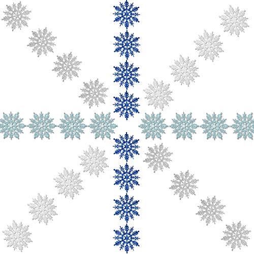 Zhehao 32 Stück 4 Zoll Weihnachten Glitter Schneeflocke Kleiderbügel Kunststoff Schneeflocke Ornamente und Silberne Kordeln für Weihnachtsdekoration, Weiß/Blau/Silber/Türkis
