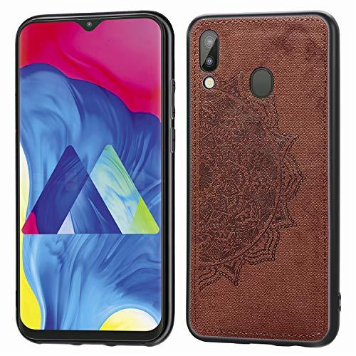 Preisvergleich Produktbild Jorisa Hülle für Samsung Galaxy M20, Geprägt Mandala Blume Retro Stoff Slim Dünn Handyhülle Hybrid Hart PC Weich Silikon mit Magnetische Autohalterung Funktion Schutzhülle, Braun