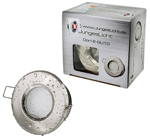 Bad Einbaustrahler IP65 RUND Farbe: Edelstahl gebürstet 230Volt GU10 Fassung (ohne Leuchtmittel) für LED und Halogenleuchtmittel 49 - 51mm (Material: Aluminium | wasserdicht und rostfrei)