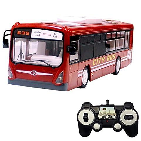 Hugine 6 Canal 2.4Ghz RC Autobus télécommande Ville Bus avec lumières et sons ouverture des portes bus de transport Jouet (Rouge)