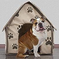 Blue-Yan Pequeño Huella Desmontable para Mascota, casa, Perro, Gato, caseta, Cama, Interior de Felpa, cálido, cojín Plegable, portátil