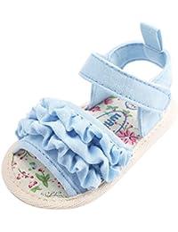 Malloom Tela de algodón Zapatos Bebe Verano Antideslizante Suela Blanda Primeros Pasos Sandalias para Recién Nacido Niña