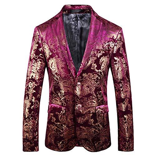 Herren Samt Sakkos Velvet Anzugjacke Premium Blume Print Gold Bankett Blazer Anzug Outwear Abend Slim Fit