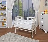 WALDIN Baby Beistellbett mit Matratze und Nestchen, höhen-verstellbar, 16 Modelle wählbar, Buche Massiv-Holz weiß lackiert,Sterne-grau/blau