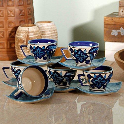 Desentrañar la India pintada a mano marroquí juego de taza, platito de café (Juego de 6)