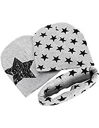 SODIAL para ninos muchachas de los muchachos 3pcs de Estrellas imprime O-Ring Bufanda Panuelo + Gorros lindo gorras azules