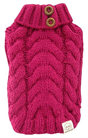 FouFou Dog Urban Knit Sweater, Fuchsia, Medium