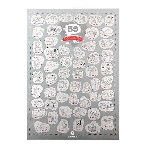 Qapter Poster Rubbelkarte für Paare-55 Ideen für mehr Romantik im Alltag-Bucketliste Romatiker und die, die es Werden wollen, Mehrfarbig, DINA2 (59,5 x 42 cm), Pappe, Silber, 59.5 x 42 cm