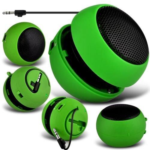 N4U Online®–Microsoft Lumia 435Mini Kapsel Reisen aufladbare Laute Bass Lautsprecher 3,5mm Klinke auf Klinke-Eingang–Grün