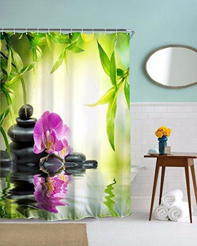 Zen-steine (A.Monamour Yoga Meditation Zen Grüne Pflanzen Orchidee Blume Felsen Steine ??Wasser Natürliche Landschaft Drucken Umweltfreundliche Tuch Duschvorhang Badezimmer Dekoration 180X200 Cm / 72