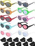 10 Paar Retro Clout Oval Brille Mod Dicken Rahmen Runden Linse Sonnenbrille 10 Farben Damen Männer Mädchen Junge Sonnenbrille mit 10 Linse Tuch