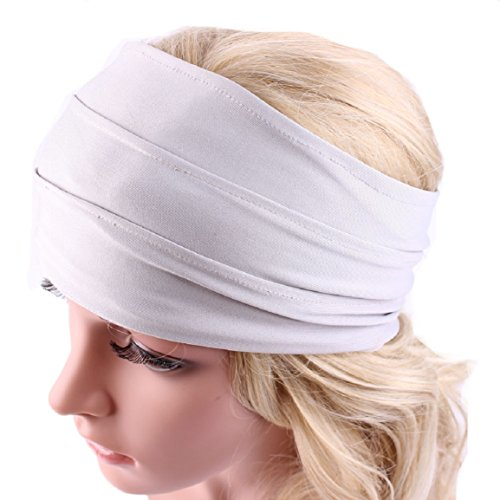 Malloom Bandeau - larges accessoires de cheveux pour femmes bandeau serre-tête boho course bandeau serre-tête de yoga headwrap non bandeau de glissement (Rose) Blanc