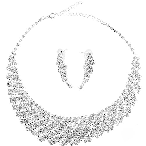 OFTEN Fashion Wedding Bridal Evening Party Prom Rhinestone Crystal Necklace Earring Jewellery Set Costume Accessory
