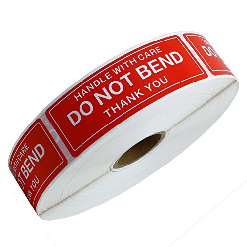 hybsk 2,5x 7,6cm Griff mit Care Do Not Bend Thank You Aufkleber selbstklebend Label 500Pro Rolle -