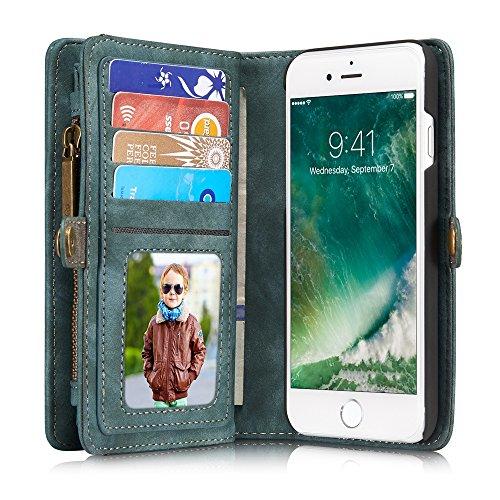 CaseMe Series Premium Handmade Leather Cover Case - Zipper Storage Card Slot Detachable Magnetic Wallet Case For iPhone 7 Blue