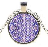 Gudeke OM de la Flor para Mujer púrpura Azul de la joyería Vida Colgantes del Collar de la Mandala de 50cm (Plata)