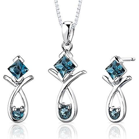 Revoni-Collana in argento Sterling, con diametro 2,00 ct topazio blu Londra a taglio sfaccettato da orecchini e collana lunghezza 46 CM, con Set, colore: argento