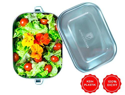 Alpin Loacker Edelstahl Lunchbox auslaufsicher und Dicht. Die Dichte Brotdose, Brotbox, Vesperbox, Vesperdose 1400ml | Lunch Box für Kinder und Erwachsene