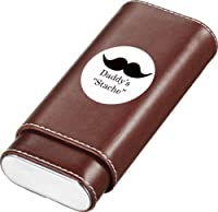 Visol Products Father's Day Brown Leather Crushproof Cigar Case, Daddy's Stache