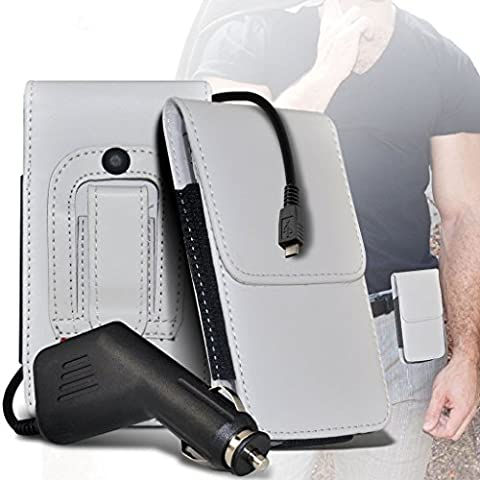 (White 143.8 x 70.2 ) case for ZTE Blade V7 Lite case (PU 143.8 x 70.2 ) Leather Belt Clip Pouch case Flip Cover Holster With Magnetic Button + car chargerZTE Blade V7 Lite case by i-Tronixs