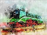 Leinwandbild 40 x 30 cm: Dampflokomotive 18 201, die schnellste Dampflok der Welt von Peter Roder - fertiges Wandbild, Bild auf Keilrahmen, Fertigbild auf echter Leinwand, Leinwanddruck