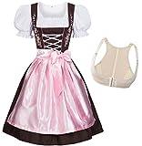 Gaudi-Leathers Bavarese Dirndl set Marrone con Rosa 4 pezzi costume tipico tirolese per Oktoberfest con Push-up Carnevale Donna 46 M