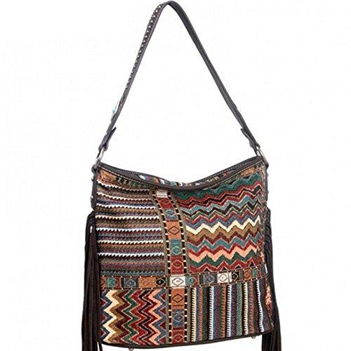 Montana West Western Aztec sac à bandoulière à franges turquoise