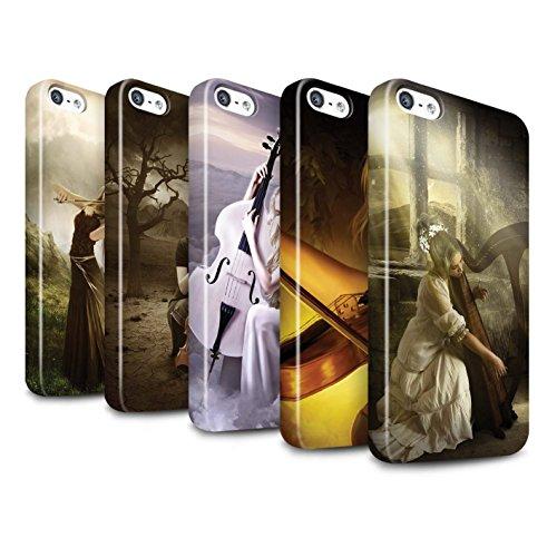 Officiel Elena Dudina Coque / Clipser Brillant Etui pour Apple iPhone SE / Abandonné Design / Réconfort Musique Collection Pack 6pcs