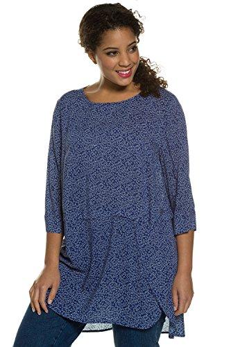 Ulla Popken Femme Grandes tailles Pullover manches 3/4 tendance tricot pull col rond fine maille chemiser haut blouse 708936 Bleu Saphir