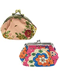 Allydrew Vintage Coin Purse Vintage Flower Coin Pouch Floral Wallet Clutch (Set Of 2), Pink & Hot Pink