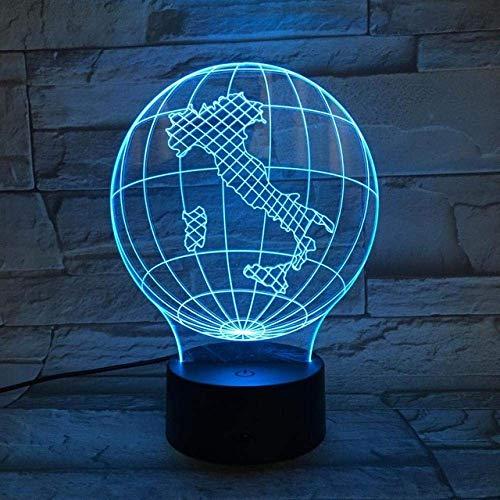 Mapa nacional Italia Luz de noche LED Ilusión 3D Sensor táctil 7 Cambio de color para niños Regalos para bebés Globos Lámpara de mesa Escritorio