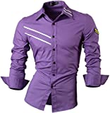 Jeansian Herren Freizeit Hemden Shirt Tops Mode Langarmshirts Slim Fit 8371 (USA S (165-170cm 60kg-65kg), 0777_Purple)