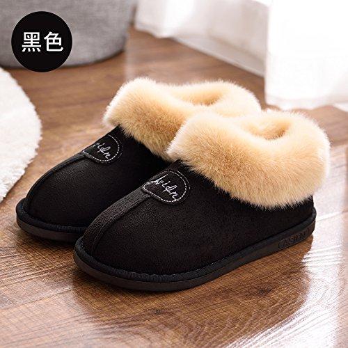 DogHaccd pantofole,In autunno e in inverno, pantofole di cotone femmina pacchetto spessa con anti-slittamento minimalista caldo indoor Home Home Il cotone pantofole inverno gli amanti Nero4