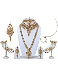 Lucky Jewellery Traditional Golden White Color Alloy Bridal Set For Women And Girls