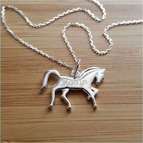 MELI MELOW Collier avec cheval poney et gravure du prénom de votre choix en argent 925/000 thème équitation bijou personnalisé gravé