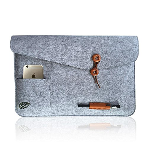Laptoptasche Sleeve Schutzhülle Tasche Filz 11-15 Zoll für iPad Air Macbook Notebook Laptops grau Bugat (Laptop-tasche Leopard)