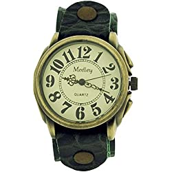 Medley Gents Analogue Beige Dial Wide Green Croc Leather Cuff Strap Watch MED13