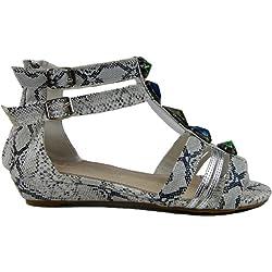 Damen Keilabsatz Sandalette Römersandale (37, weiß)