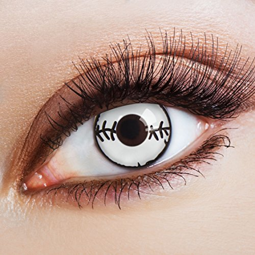 aricona Farblinsen weiße Zombie Kontaktlinsen ohne Stärke für dein Halloween Kostüm Jahreslinsen für ein Horror Make (Up Make Kostüm Doll Scary)