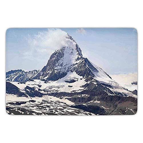 h Rug Kitchen Floor Mat Carpet,Farmhouse Decor,Matterhorn Summit with Cloud Mountain Scenery Glacier Natural Beauty,Blue White Black,Flannel Microfiber Non-Slip Soft Absorbent ()