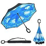 Ombrello Inverso Antivento, C Forma impugnatura dritta Rod doppio strato invertito Ombrello per auto all'aperto (Cielo blu)(Sky blue)