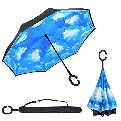 Ombrello inverso antivento, c forma impugnatura dritta rod doppio strato invertito ombrello per auto all'aperto - cielo blu