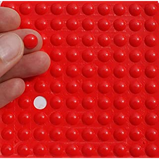 Small RED 3M RUBBER FEET Bumpons ~ 8mm Dia x 2mm Height ~ Adhesive Anti-Slam Furniture Unit Door Protectors (10 Individual Bumpons)