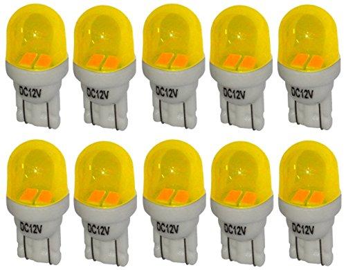 Aerzetix: 10x ampoule T10 W5W 12V 2LED SMD jaune éclairage intérieur plaque d'immatriculation seuils de porte plafonnier pieds lecteur de carte coffre compartiment moteur