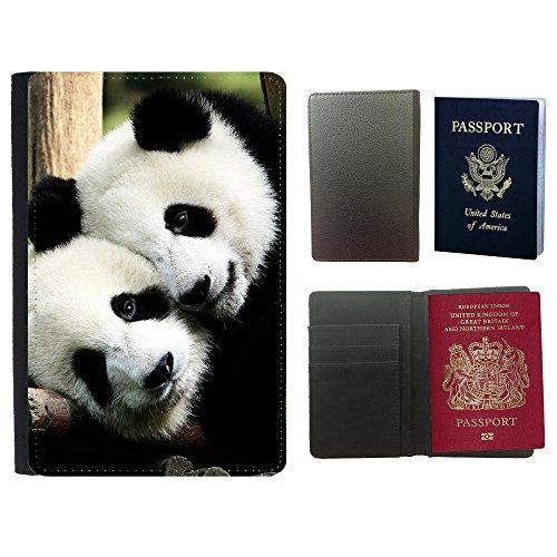 PU Pass Passetui Halter Hülle Schutz // V00003716 spielerisch Pandas // Universal passport leather - Cover Passport Panda